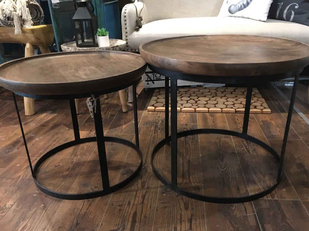Petites tables d'appoint bois et métal vendues en duo